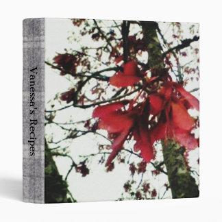 Red Maple Keys Botanical Sm. Recipe Cook Book 3 Ring Binder