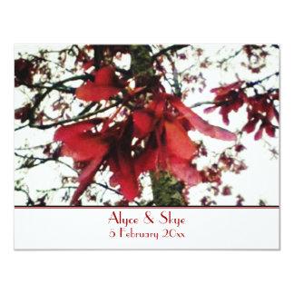 Red Maple Keys Botanical Wedding Card