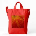 Red Maple Leaf Abstract Autumn Nature Photography Duck Bag
