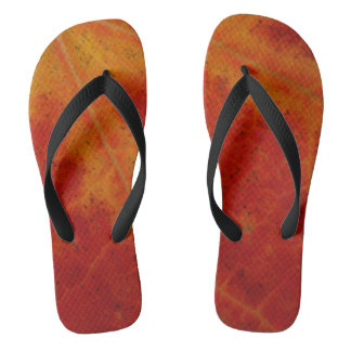 Red Maple Leaf Abstract Autumn Nature Photography Flip Flops