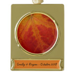 Red Maple Leaf Abstract Autumn Nature Photography Gold Plated Banner Ornament