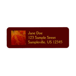 Red Maple Leaf Abstract Autumn Nature Photography Label