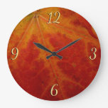 Red Maple Leaf Abstract Autumn Nature Photography Large Clock