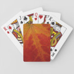 Red Maple Leaf Abstract Autumn Nature Photography Playing Cards
