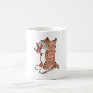 Red Maple Leaf and Brown Tiger Kitten Classic White Coffee Mug