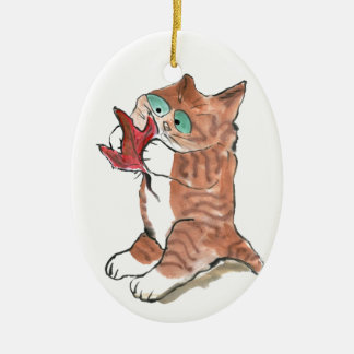 Red Maple Leaf and Brown Tiger Kitten Ornament