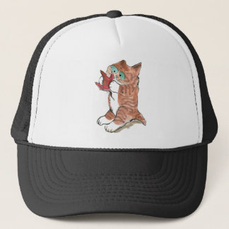 Red Maple Leaf and Brown Tiger Kitten Trucker Hat
