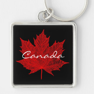Red Maple Leaf- Canada Silver-Colored Square Keychain