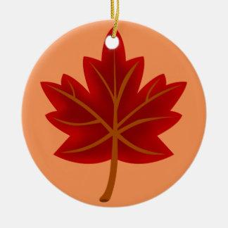 Red Maple Leaf Ceramic Ornament