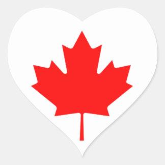 Red Maple Leaf Heart Sticker