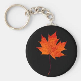 Red maple leaf basic round button keychain