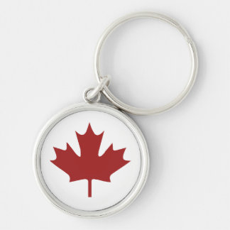 Red Maple Leaf Silver-Colored Round Keychain