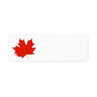 Red maple leaf return address label