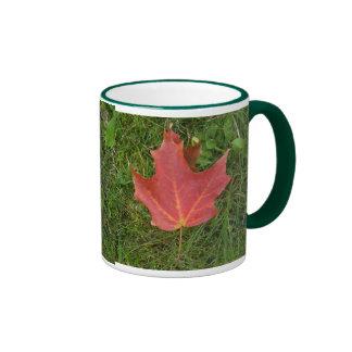 Red  Maple Leaf on Grass Ringer Coffee Mug