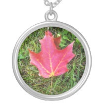 Red Maple Leaf on Grass Silver Plated Necklace