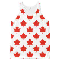 Red Maple Leaf Pattern All-Over-Print Tank Top