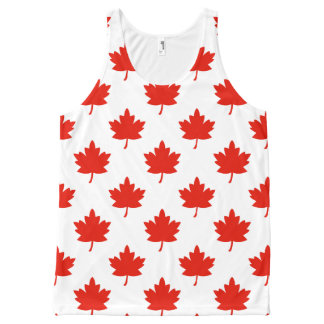 Red Maple Leaf Pattern All-Over Print Tank Top