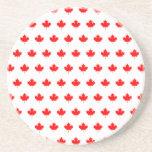 Red Maple Leaf Pattern Drink Coasters
