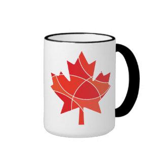 Red maple leaf pattern ringer coffee mug