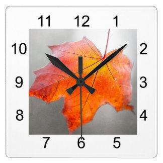 Red Maple Leaf - Velvet Autumn Square Wall Clock