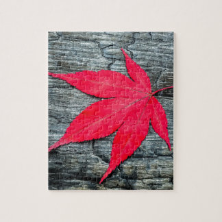 Red maple leave on black burnt wood jigsaw puzzle