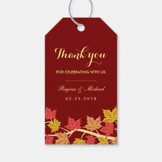 Red Maple Leaves Autumn Wedding Gift Tag Pack Of Gift Tags