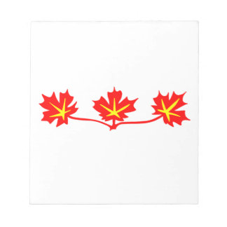Red Maple Leaves Canadian Standard Symbol Notepad