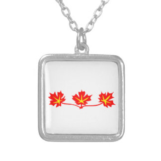 Red Maple Leaves Canadian Standard Symbol Silver Plated Necklace