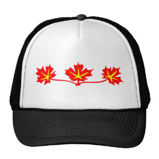 Red Maple Leaves Canadian Standard Symbol Trucker Hat