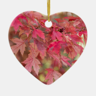 Red Maple Leaves Ceramic Ornament