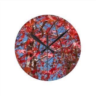 Red Maple Leaves Clocks
