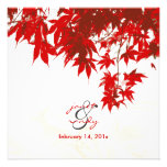 Red Maple Leaves/fall wedding/diy background color Invites