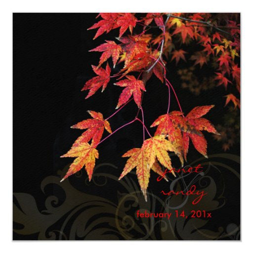 Red Maple Leaves/fall wedding invitations