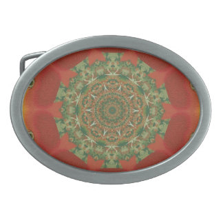 Red Maple Leaves Kaleidoscope Pattern Belt Buckles