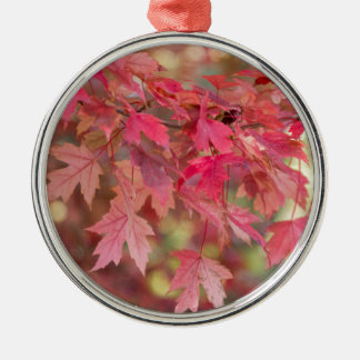 Red Maple Leaves Metal Ornament