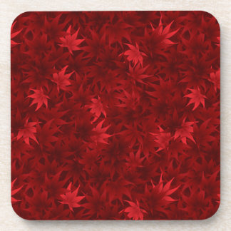 Red maple leaves pattern drink coaster