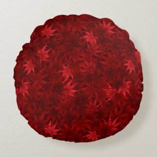 Red maple leaves pattern round pillow