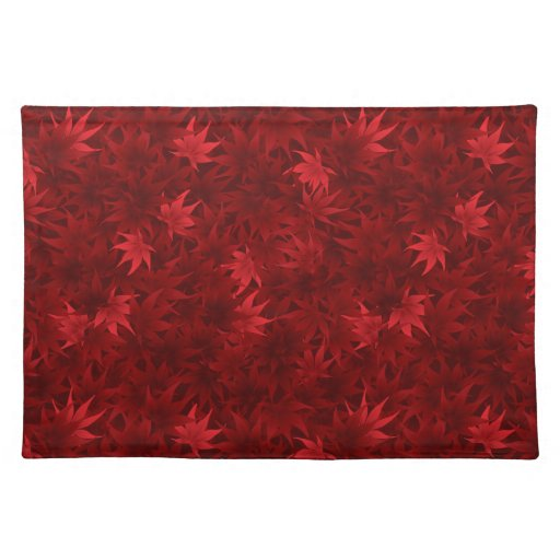 Red maple leaves pattern placemats