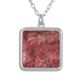 red maple leaves square pendant necklace