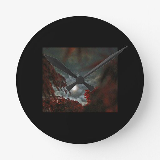 Red Maple Moon & Clouds Round Clock
