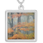 Red Maple tree, Acer rubrum, portrait in foggy Silver Plated Necklace