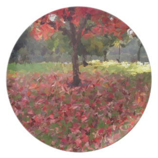 Red Maple Tree Photography Dinner Plate