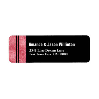 Red Marble and Black Striped Modern Wedding V01 Label