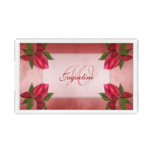 Red Marble Floral Monogram and Name Acrylic Tray