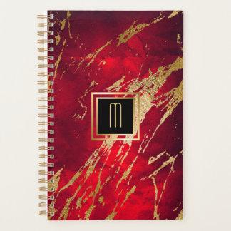 Red Marble Gilded Gold Monogram Planner
