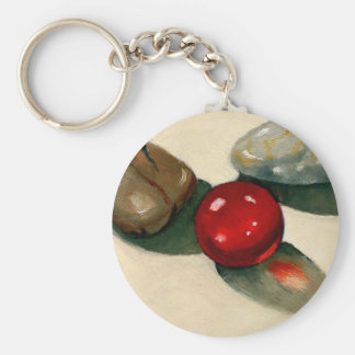 RED MARBLE, RIVER STONES: ART: REALISM KEYCHAIN