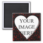 Red Marble Square Frame with Heart 2 Inch Square Magnet