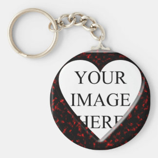 Red Marble Square Frame with Heart Basic Round Button Keychain