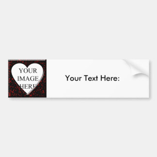 Red Marble Square Frame with Heart Car Bumper Sticker