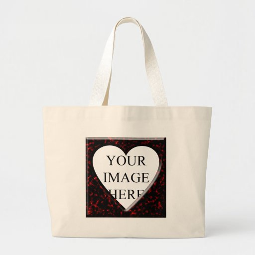 Red Marble Square Frame with Heart Jumbo Tote Bag